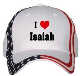 I Love/Heart Isaiah USA Flag Hat / Baseball Cap Clothing