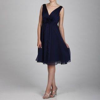 Jessica Howard Womens Navy Ruched Waist Dress