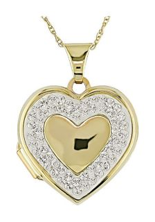 10k Yellow Gold Crystal Heart Locket Necklace