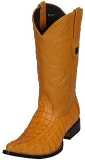 Fashion Western Boots Exotic Leather Caiman Tail Pointy 7663 Shoes