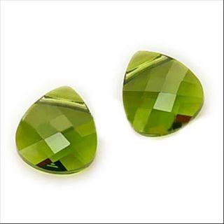 Beadaholique Olivine Crystal 6012 10x11mm Flat Briolette Pendant Beads