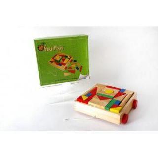 Chariot bois + 58 pièces   Chariot + 58 pieces de construction tout
