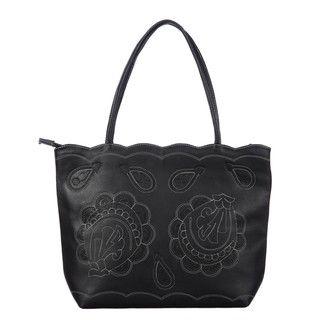 Leather Flower Breeze Black Tote Bag (Paraguay)