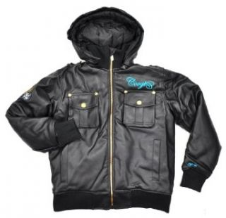 Coogi Black Hooded Faux Leather Big Boys Short Outerwear