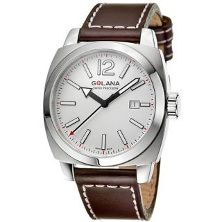 Golana Swiss Mens Aero Pro 100 Steel Case Leather Strap Watch
