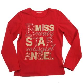 Coloris rouge   Tee shirt manches longues fille   Composition 95%
