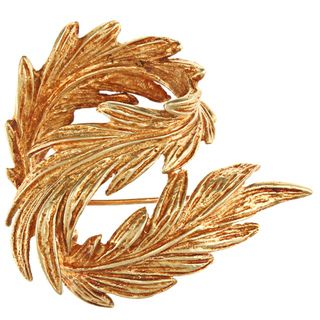 Tiffany 18k Yellow Gold Circa 1960s Hand carved Leaf Brooch