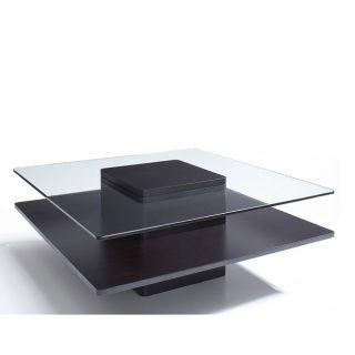 Glass/ Dark Coffee Wood 40 inch Coffee Table