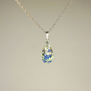 Jewelry by Dawn Crystal AB Crystal Pear Sterling Silver Necklace