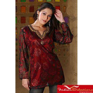 Womens Burgundy Long Sleeve Beaded Kurti/Tunic (India)