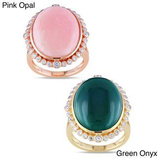 Miadora Silver Pink Opal or Green Onyx Gemstone Ring
