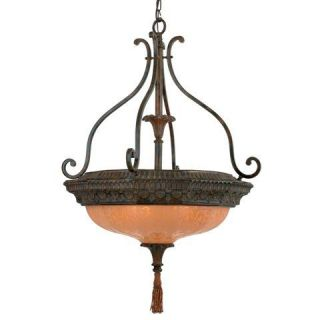 Hand painted Palladio Etched Amber Glass 4 light Pendant Light Fixture