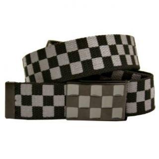 Grey & Black Checker Web Canvas Slider Style Belt