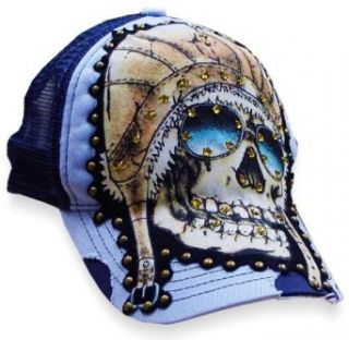 Bulzeye Indian Death Skull Vintage Trucker Hat (Blue
