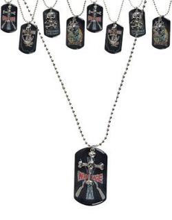 Skull on Cross Rock Star Rocker Gothic Dog Tags Dogtags
