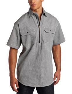 Key Industries Mens Short Sleeve Zip Front Hickory Stripe