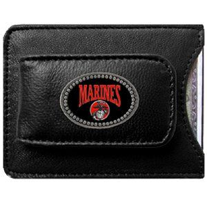 US Marine Corps Fine Leather Money Clip Wallet Sports