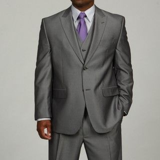 Sean John Mens Silver 3 piece Vested Suit