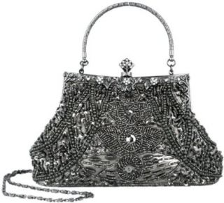 Exquisite Gray Seed Bead Sequined Leaf Evening Handbag