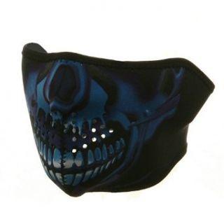 Neoprene Half Face Mask   Blue Chrome Skull W10S28F