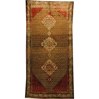 Persian Hand knotted Hamadan Camel/ Ivory Wool Rug (51 x 105