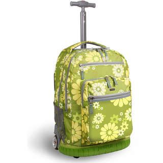 World Khaki Flower Rolling Backpack with Laptop Sleeve