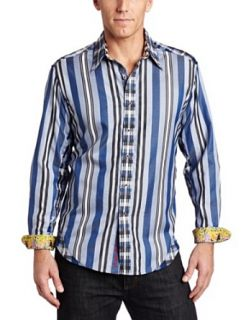 Robert Graham Mens Big city Shirt, Blue, Small Clothing