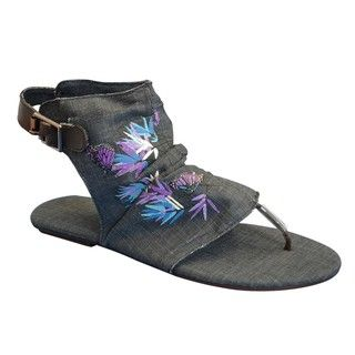Muk Luks Womens Sun Luks Printed Canvas Cut out Scrunched Gladiator