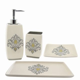 Waverly Bedazzled Gray Ceramic Four piece Bath Accessory Set