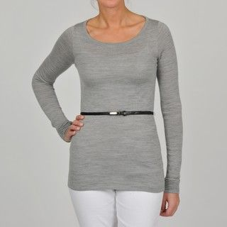 Adrienne Vittadini Womens Grey Boat Neck Belted Top
