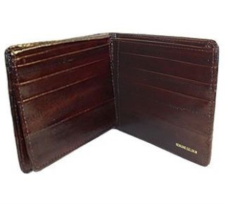 New Mens Eel Skin Leather Bifold Credit Card Brown Wallet
