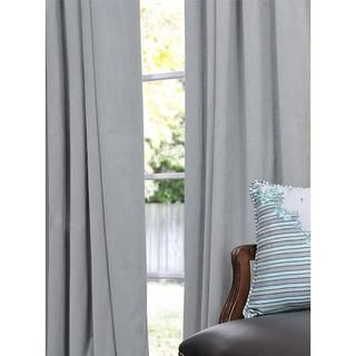 Signature Grey Blue Velvet 108 inch Blackout Curtain Panel