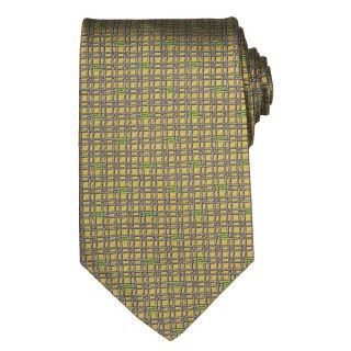 Versace Mens Silk Yellow Patterned Tie