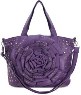 Womens Designer Handbags   Ladies Purple Oversized Flower