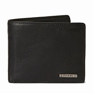 Fossil Mens Evans Black Leather Bi fold Wallet