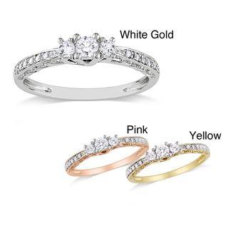 Miadora 10k Gold 1/4ct TDW Diamond 3 stone Ring