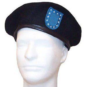 Black Wool GI Type Beret With Blue Flash Clothing