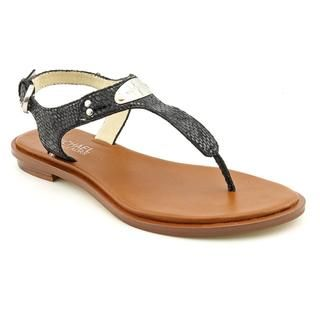 Michael Kors Womens MK Plate Thong Leather Sandals (Size 5.5