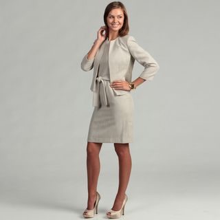 Anne Klein Womens Khaki Tweed Bolero Jacket Dress