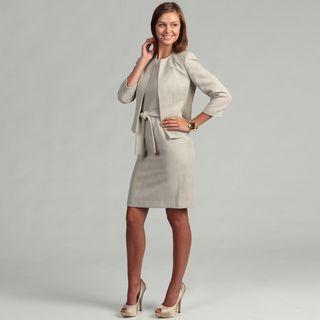 Anne Klein Womens Khaki Tweed Bolero Jacket Dress