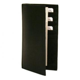 Black Leather Mens Long Checkbook Holder Wallet Clothing