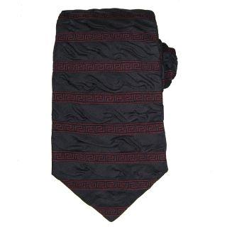 Versace Mens Wrinkled Greek Key Stripe Tie