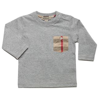 Burberry Boys Melange Grey Check Pocket Long Sleeve T shirt