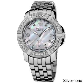Burgi Womens Stainless Steel Diamond Bracelet Watch