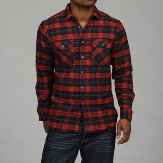 Report Collection Mens Red Plaid Flannel Shirt