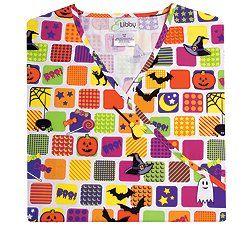 E. Libby Halloween Squares Mock Wrap Scrub Top (XS 3X