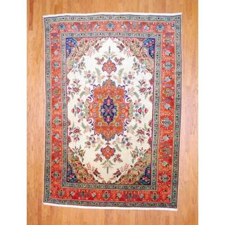 Persian Hand knotted 1960s Tabriz Ivory/ Navy Wool Rug (8 x 112