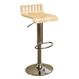 Adjustable Birch Bent Wood/ Chrome Finish Bar Stool