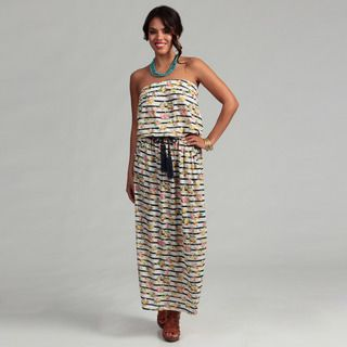 Womens Floral and Stripe Strapless Maxi Dress