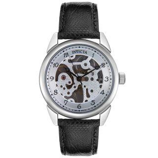 Invicta Black Leather Mechanical Movement Watch
